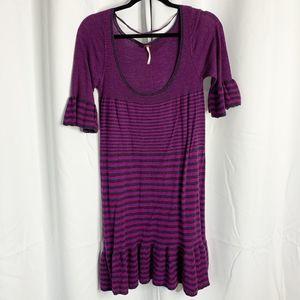 free people purple striped bell sleeve dress L